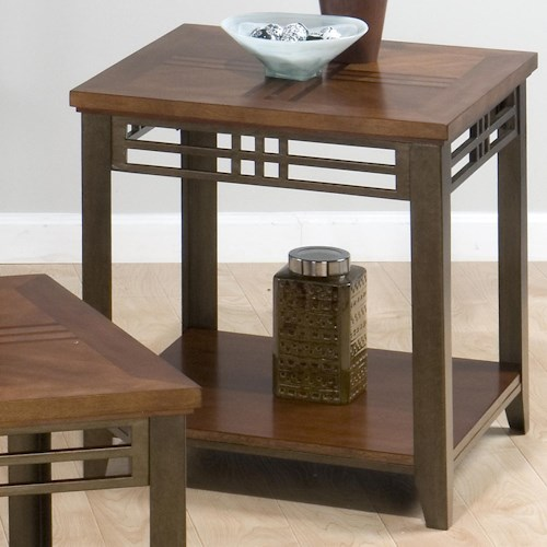 Jofran Barrington Cherry End Table with Shelf, Inlay Wood Top, & Metal Apron and Legs