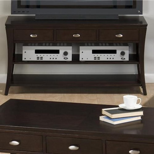 Jofran Manhattan Espresso Sofa Table with Two Shelves and Three Drawers
