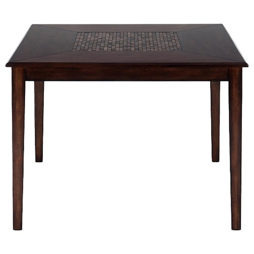 Jofran Baroque Brown Contemporary Counter Height Square Table with Mosaic Inlay