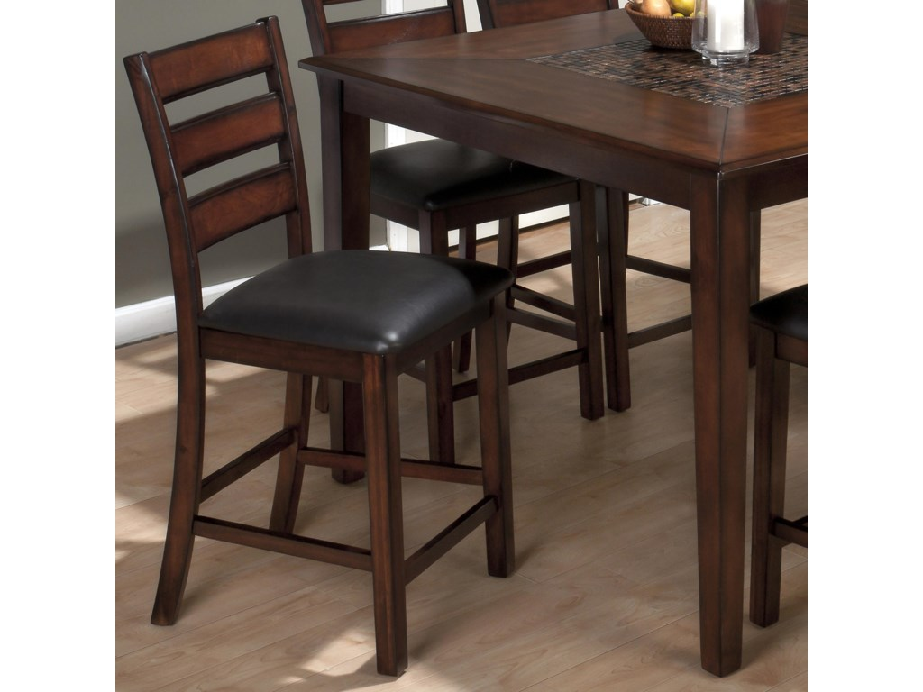 Jofran Baroque BrownSlat Back Pub Stool with Faux Leather Seat