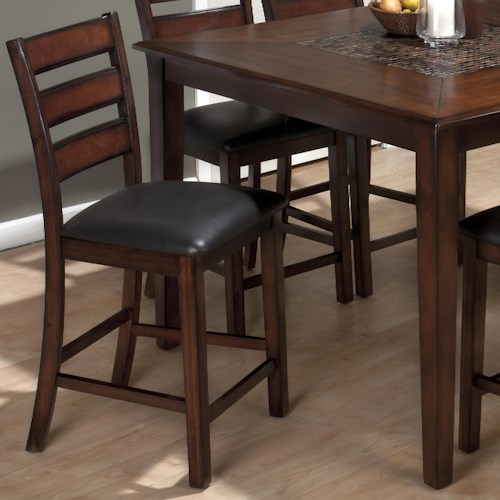 Jofran Baroque Brown Slat Back Pub Stool with Faux Leather Seat