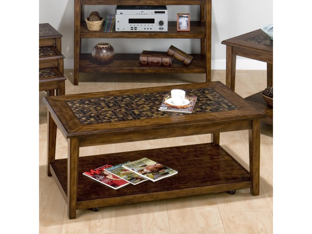 Belfort Essentials Baroque Brown Mosaic Tile Inlay Cocktail Table