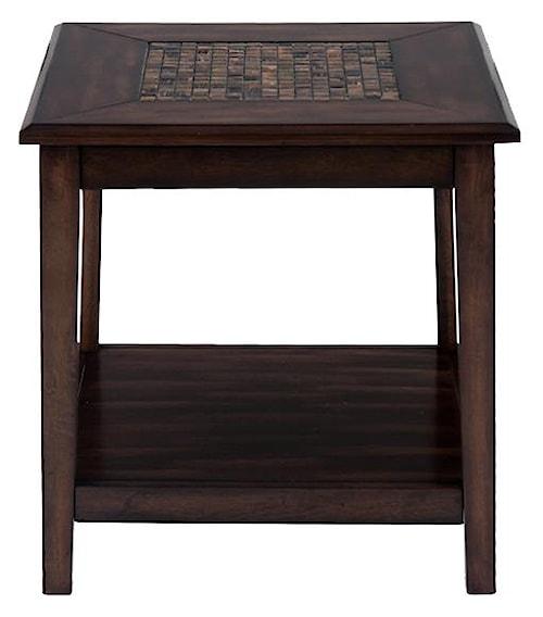 Jofran Baroque Brown Dark Brown Mosaic Inlay End Table