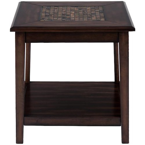 Jofran Baroque Brown Dark Brown Mosaic Inlay End Table