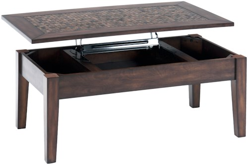Jofran Baroque Brown Lift Top Cocktail Table with Mosaic Tile Inlay
