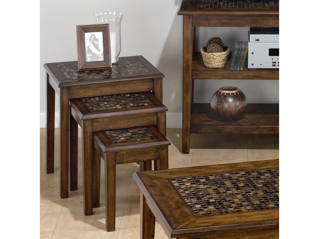 Jofran Baroque Brown3-Piece Nesting Chairside Tables