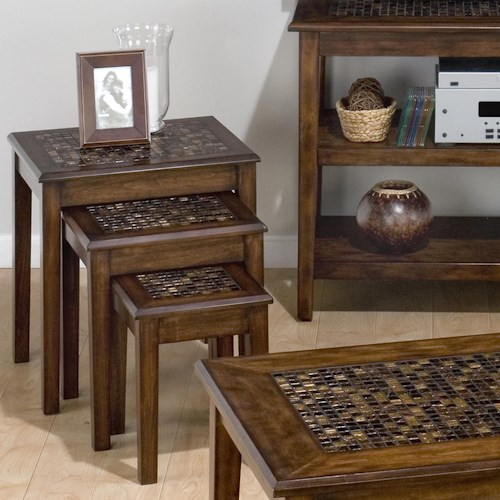 Jofran Baroque Brown 3-Piece Nesting Chairside Table with Mosaic Tile Inlay