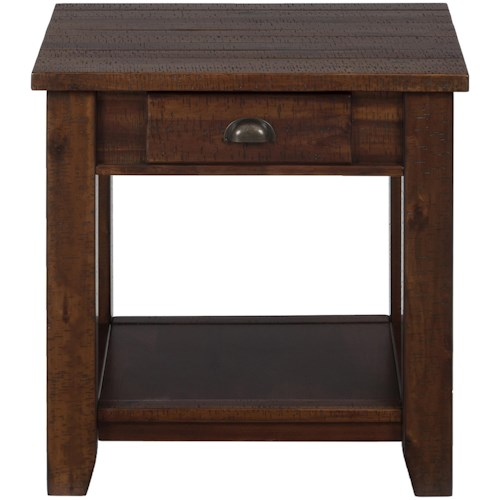 Jofran Urban Lodge Brown Casual End Table with One Drawer and One Shelf