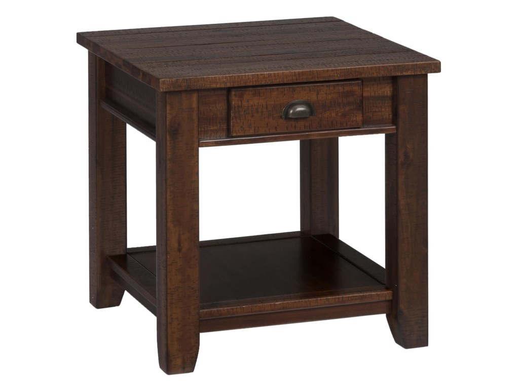 Jofran Urban Lodge BrownEnd Table w/ Drawer and Shelf