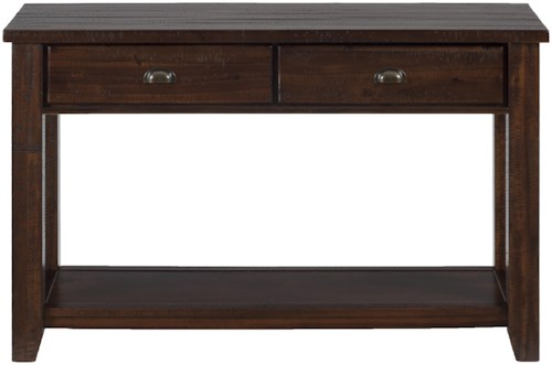 Jofran Urban Lodge Brown Casual Sofa/Media Table with Two Drawers and One Shelf