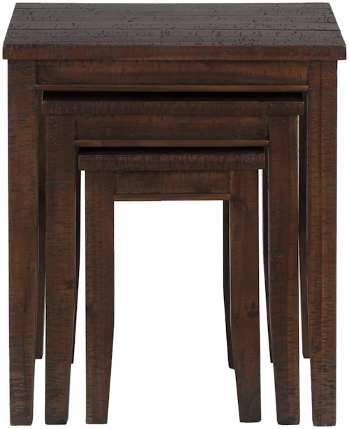 Jofran Urban Lodge Brown Casual Three Piece Set of Nesting Tables with Tapered Block Legs