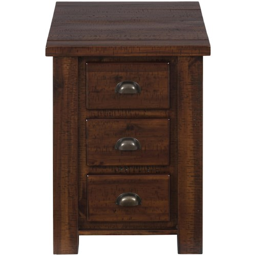 Jofran Urban Lodge Brown Chairside Table with 3 Drawers