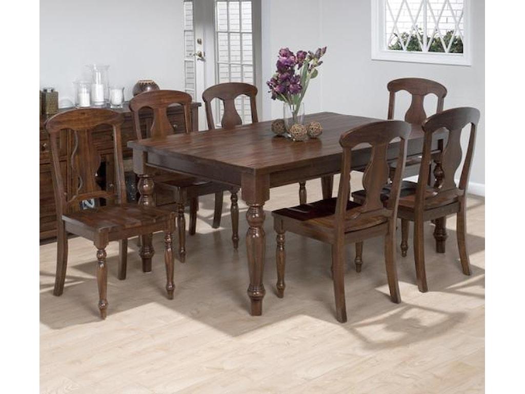 Jofran Urban Lodge7 Piece Dining Set with Napoleon Chairs