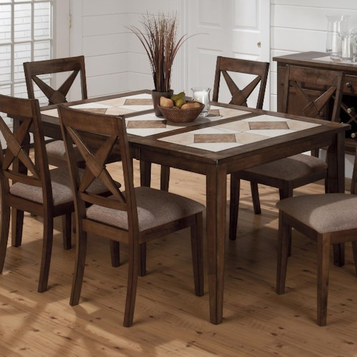 Jofran Tucson Brown  Tri-Color Tile Top Dining Table with Removable Leaf