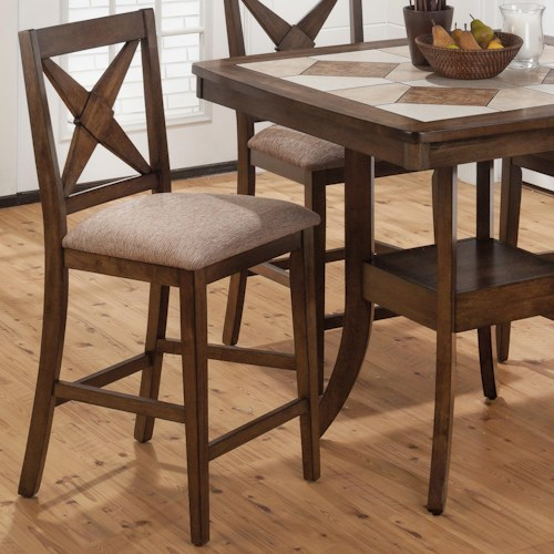 Jofran Tucson Brown  Counter Height X-Back Stool with Padded Seat