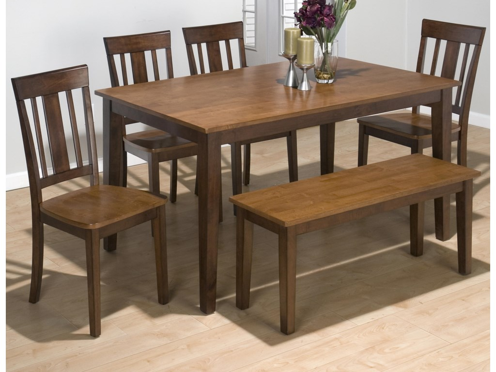 Jofran Kura Espresso and Canyon GoldRectangle Table Set with 4 Chairs and Bench