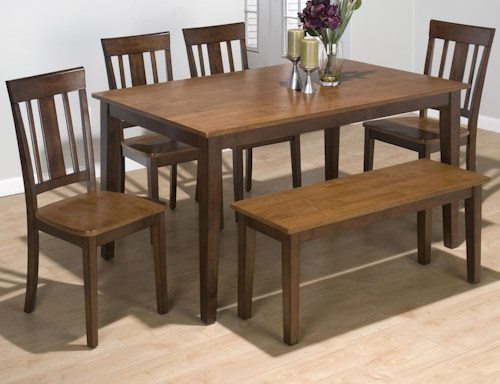 Jofran Kura Espresso and Canyon Gold Solid Rubberwood Rectangle Table Set with 4 Triple Upright Chairs and Backless Bench