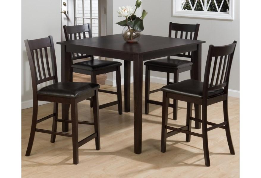 Marin County Merlot 5-Piece Counter Height Table & Counter Chair Set by  Jofran at Prime Brothers Furniture