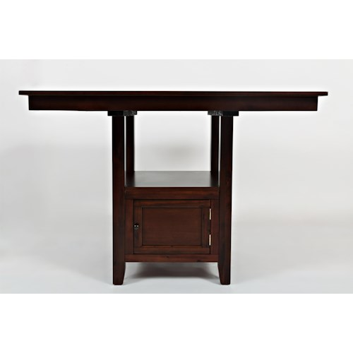 Jofran Tessa Chianti Casual Square Counter Height Table with Pedestal Storage