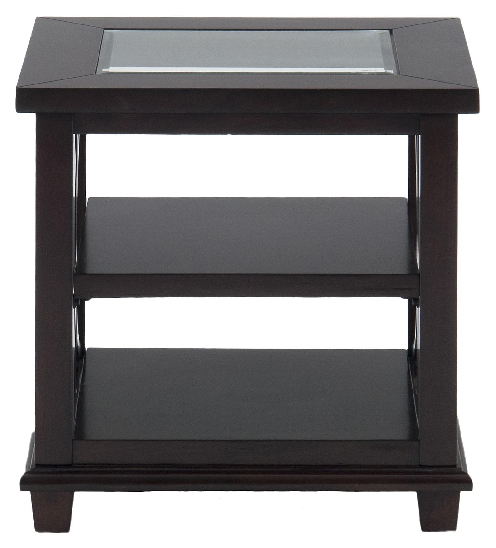 Contemporary Beveled Glass End Table with Concentric Circle Design