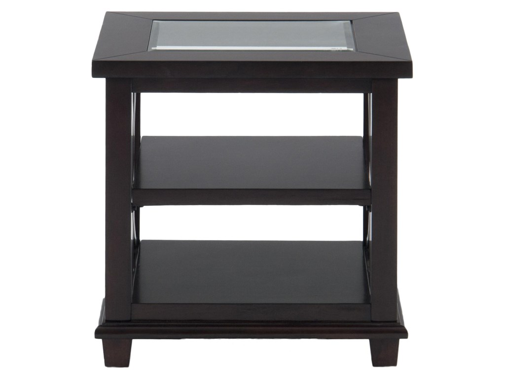 Jofran Panama BrownEnd Table w/ Glass Top
