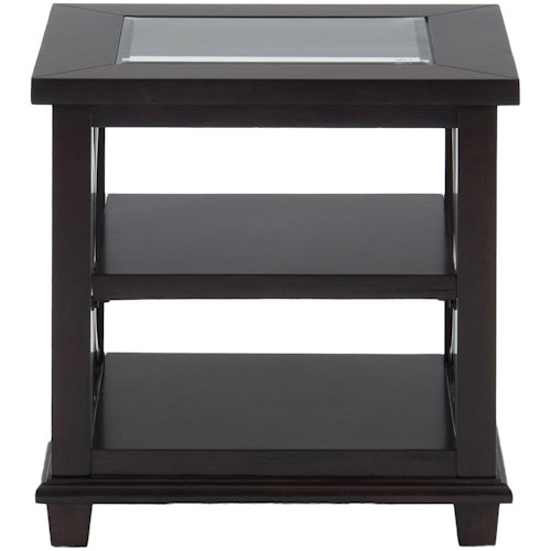 Jofran Panama Brown Contemporary Beveled Glass End Table with Concentric Circle Design