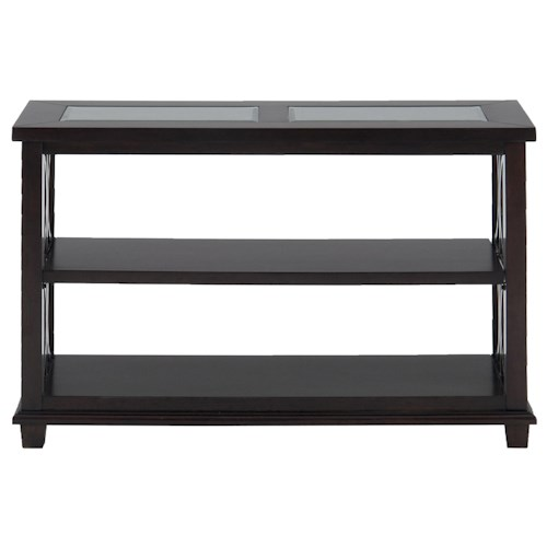 Jofran Panama Brown Contemporary Beveled Glass Sofa Table with Concentric Circle Design