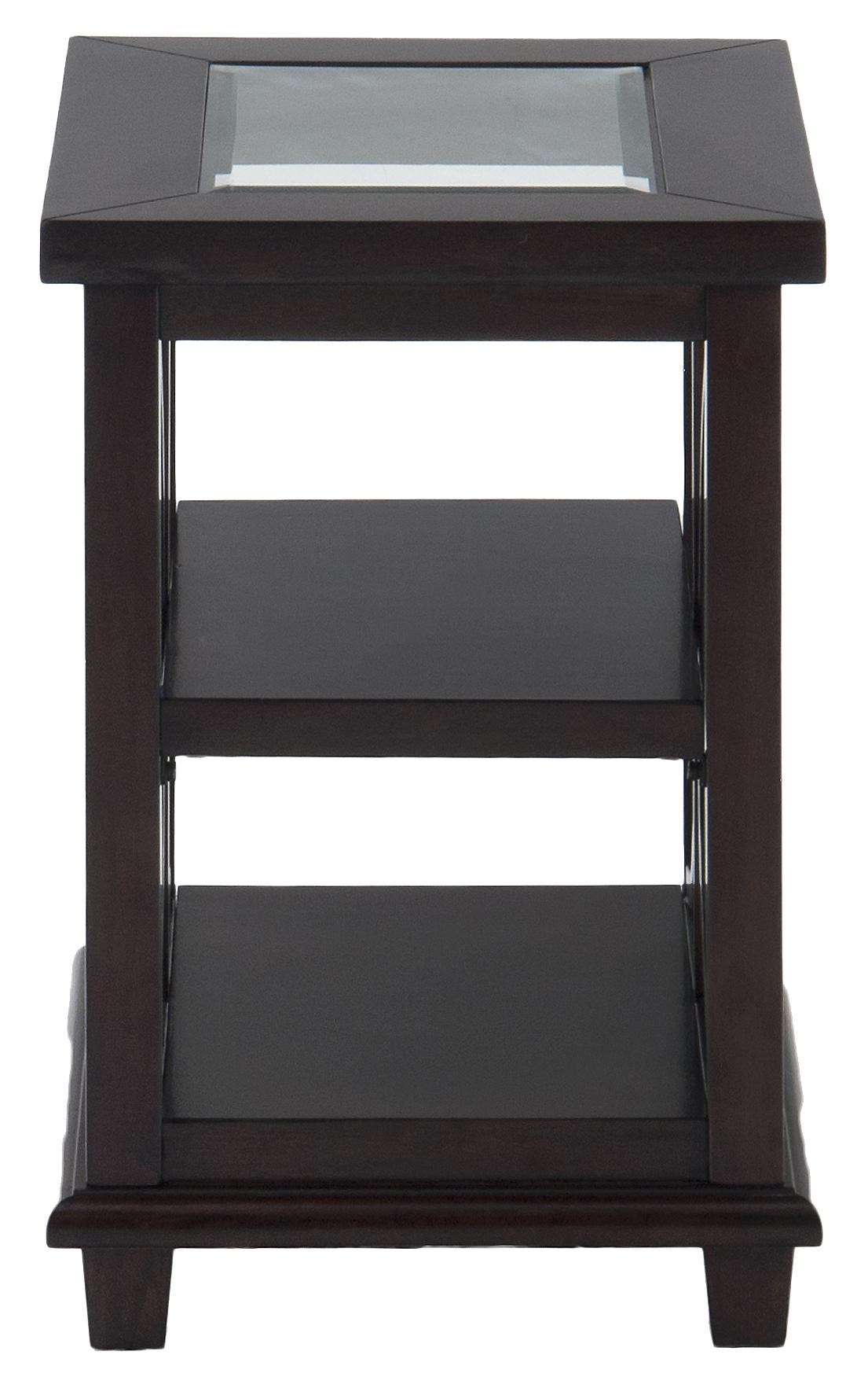 Contemporary Beveled Glass Chairside Table with Concentric Circle Design