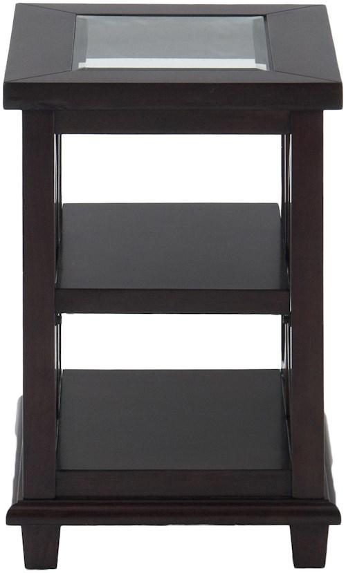 Jofran Panama Brown Contemporary Beveled Glass Chairside Table with Concentric Circle Design