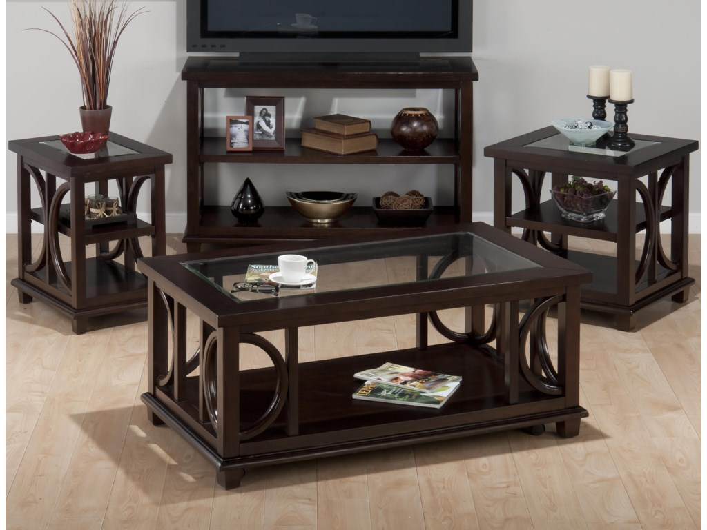 Jofran Panama BrownChairside Table w/ Glass Top