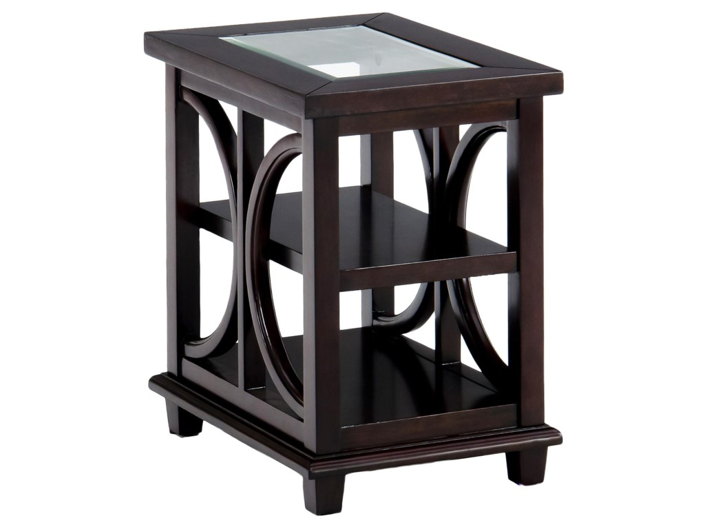 Jofran Panama BrownChairside Table w/ Glass Top