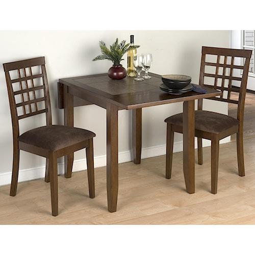 Jofran Caleb Brown Three Piece Drop-Leaf Table Set