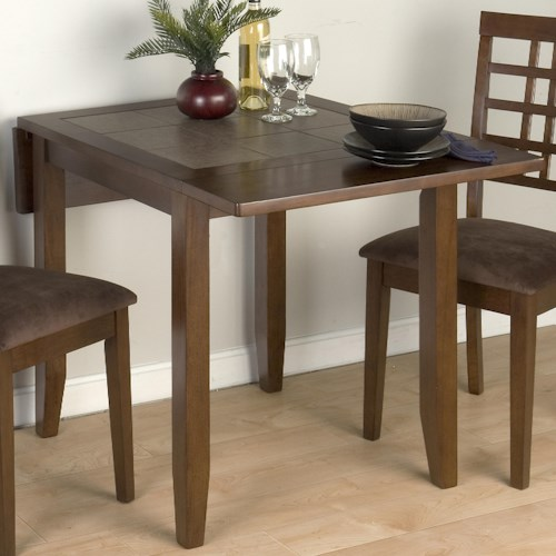 Jofran Caleb Brown Conventional Height Tile Top Double Drop-Leaf Table