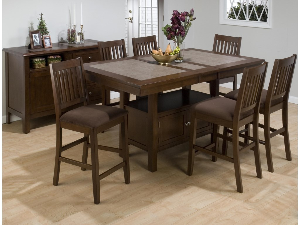 Counter Height Table Shown in Room Setting with Stools and Server