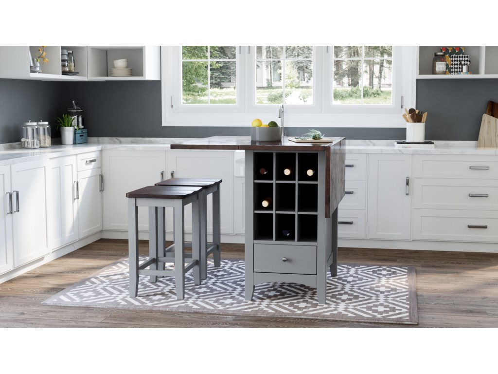 Jofran Asbury Park3-Piece Counter Height Table and Stool Set