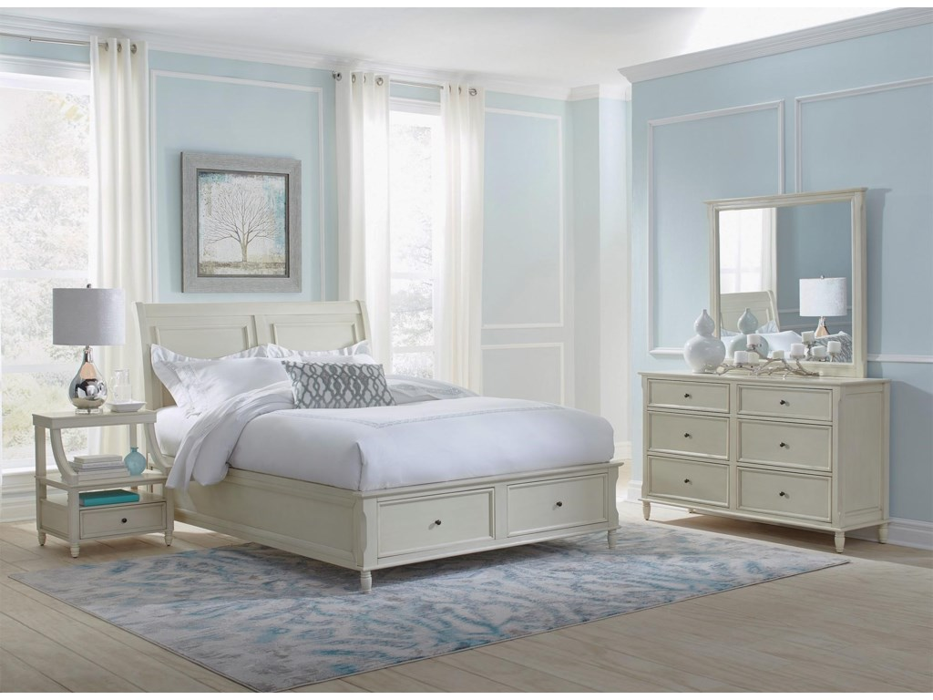 Jofran Emerson: Ivory 4PC Queen Storage Bedroom Set | Rotmans ...