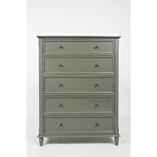 Jofran Oakley: Grey 5 Drawer Chest