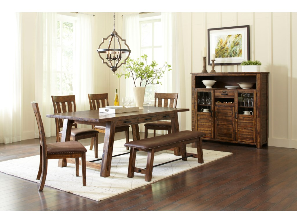 Jofran Cannon ValleyTrestle Dining Table and Chair/Bench Set