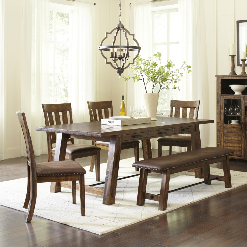 Jofran Cannon Valley Trestle Dining Table And Chairbench Set