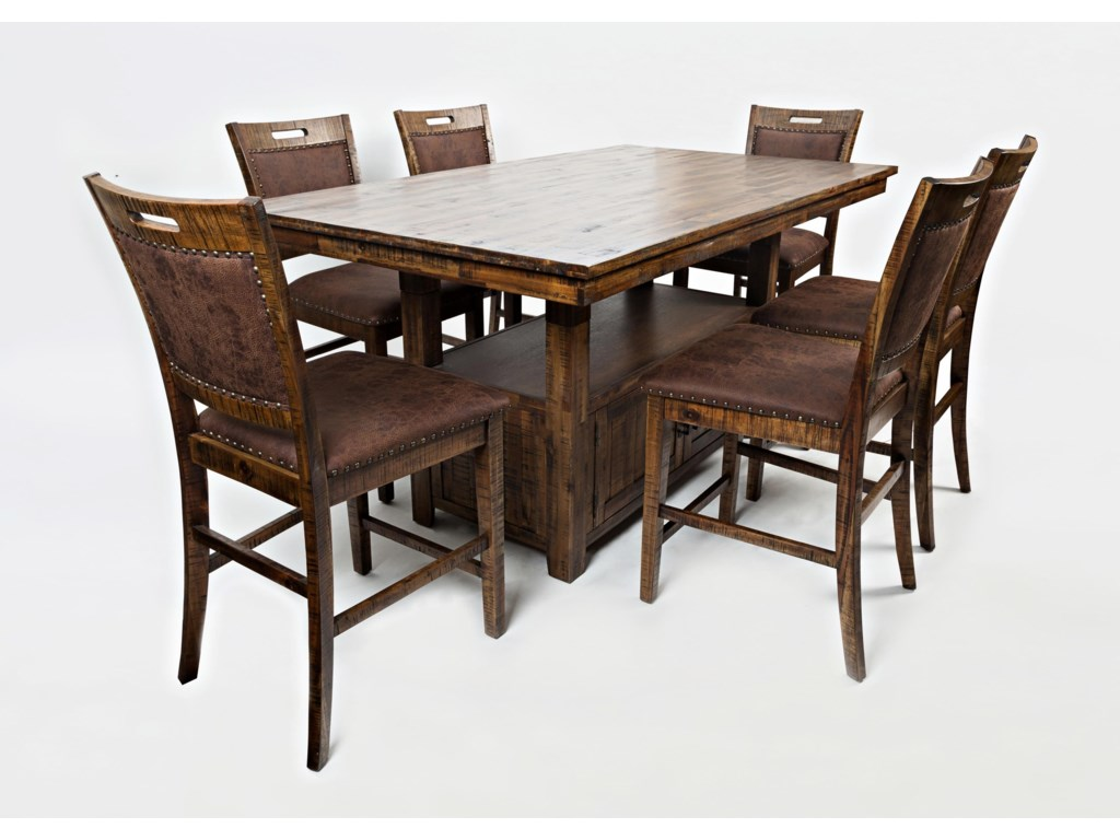 Jofran Cannon ValleyHigh/Low Pedestal Table & 6 Side Chairs