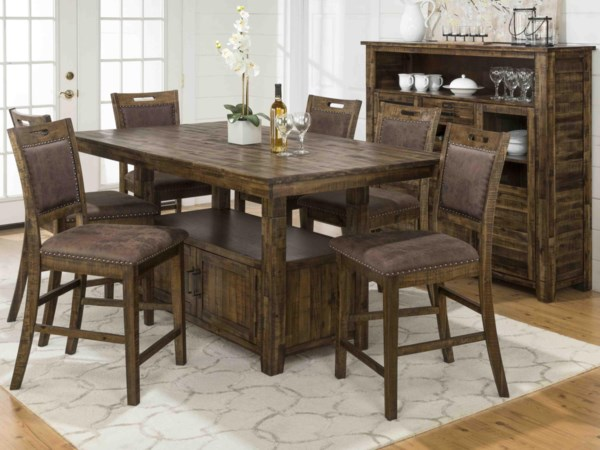 All Wood Counter Height Table & 6 Stools