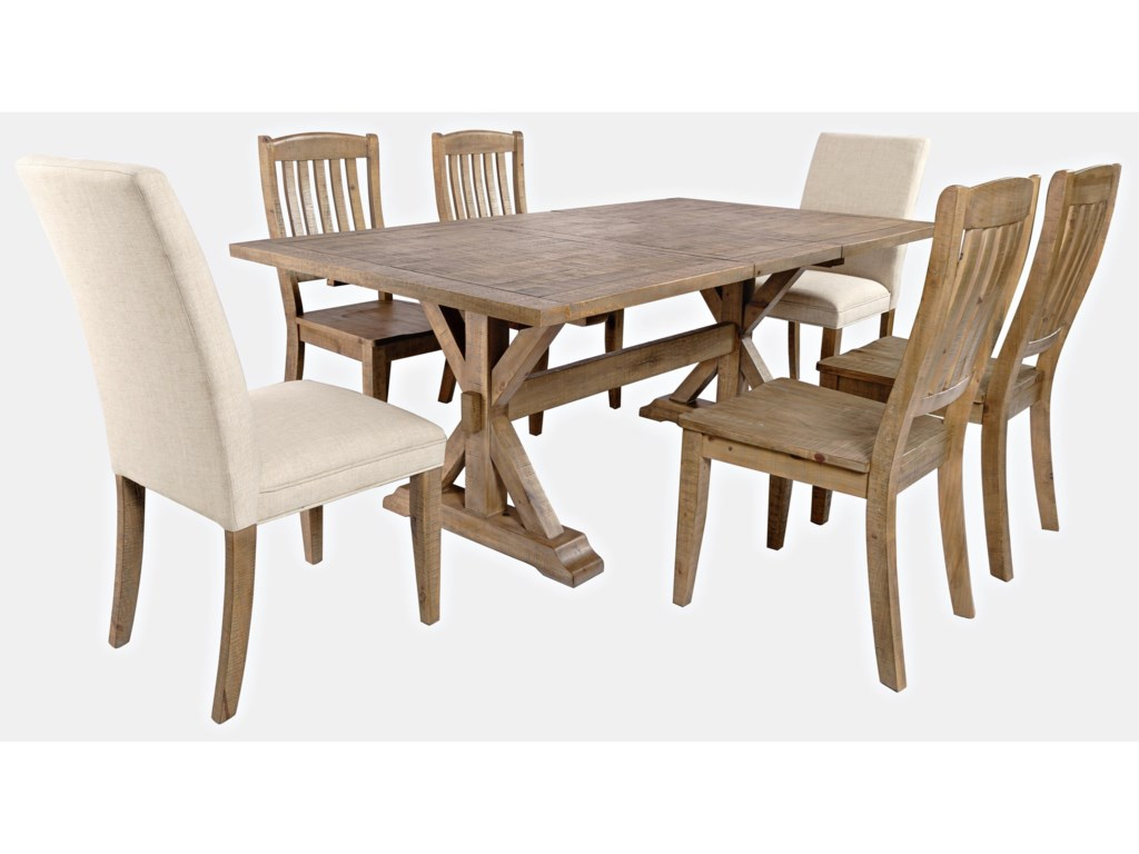 Jofran Carlyle Crossing7-Piece Dining Table and Chair Set