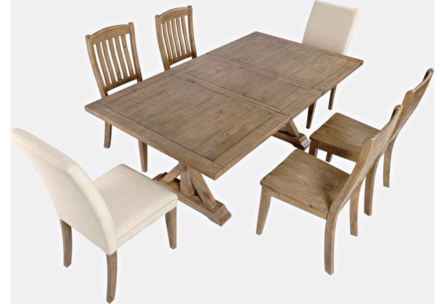 Jofran Carlyle Crossing 7 Piece Dining Table And Chair Set H L Stephens Dining 7 Or More Piece Sets