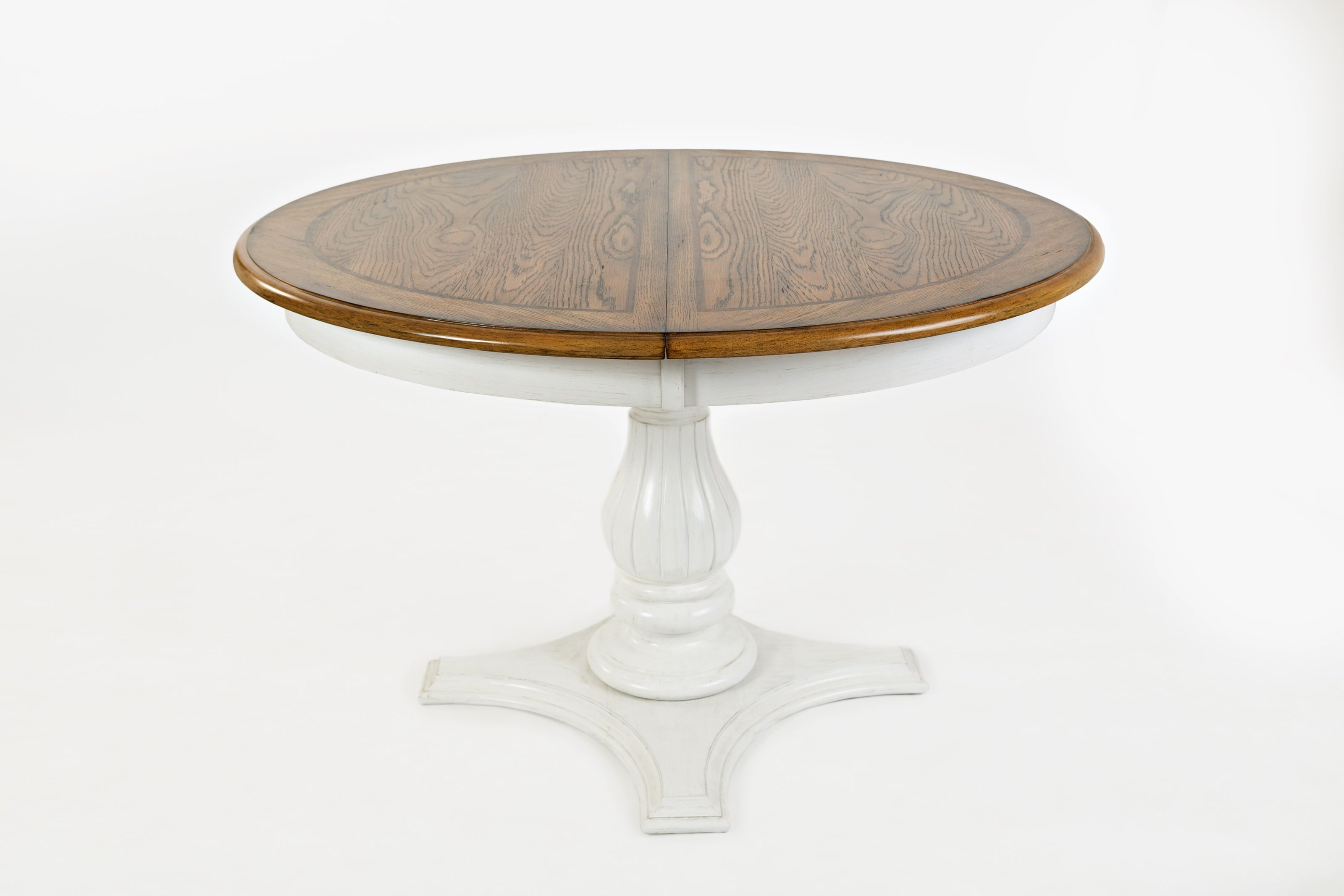 Rotmans & Acropolis: White Round to Oval Pedestal Dining Table by Jofran at Rotmans