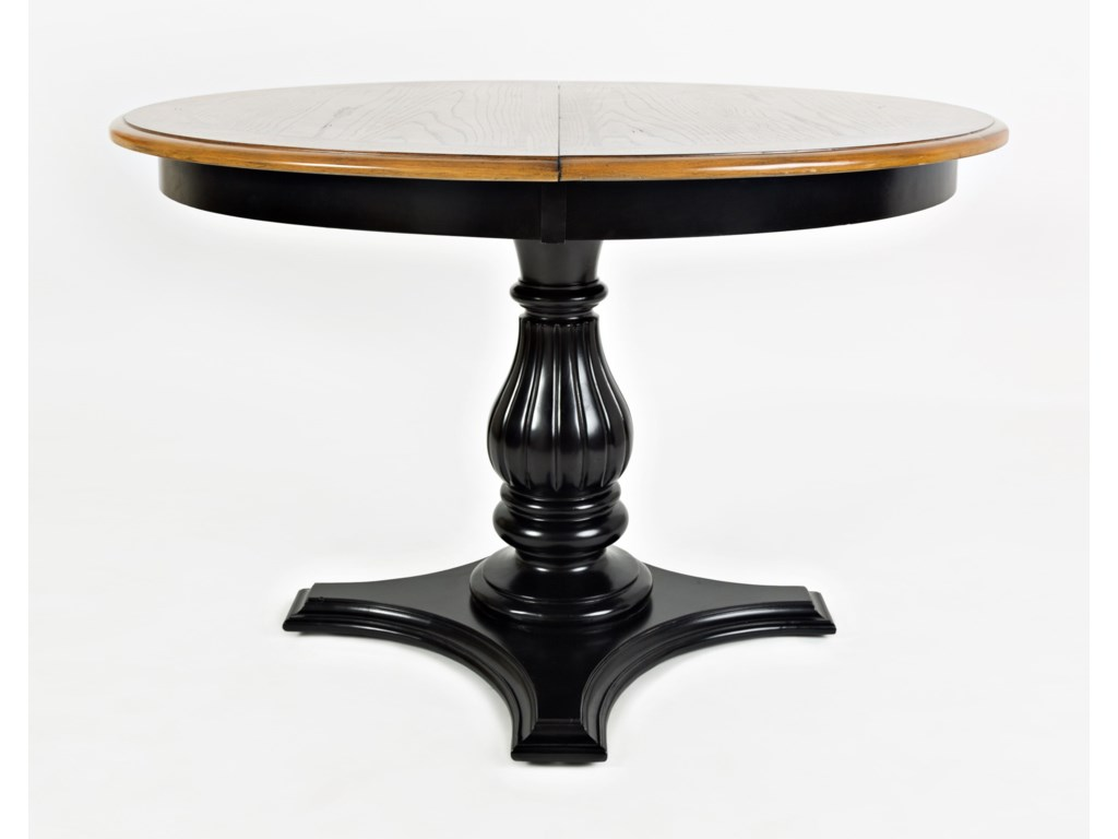 Acropolis Black Round To Oval Pedestal Dining Table Rotmans - Black oval pedestal dining table