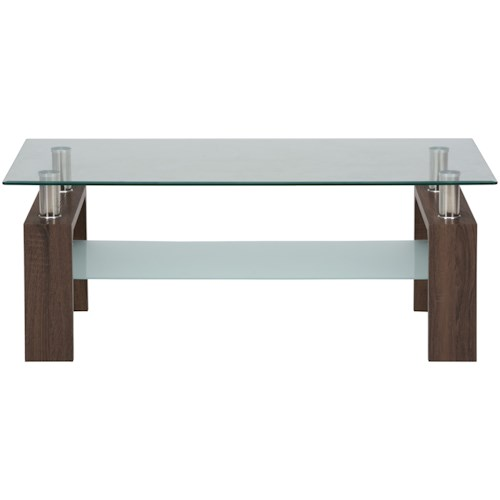Jofran Compass Cocktail Table with Glass Top