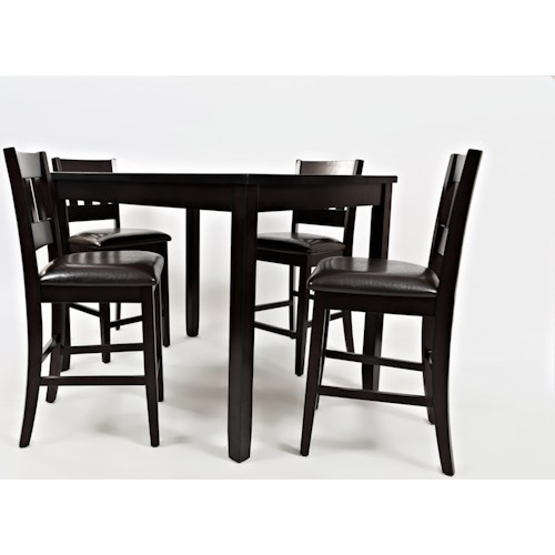 Jofran Dark Rustic Prarie Dark Rustic Prairie Counter Height Table and Four Stools