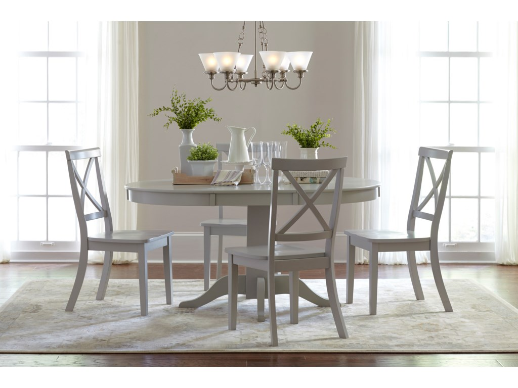 Jofran Everyday ClassicsRound to Oval Dining Table and 4 Chair Set