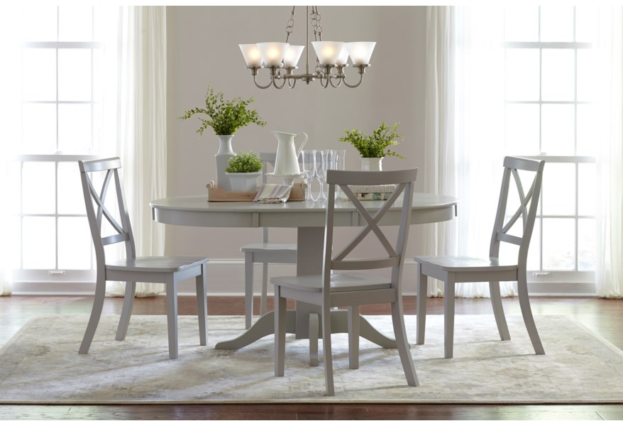 Everyday Classics Round to Oval Dining Table and 4 Chair Set