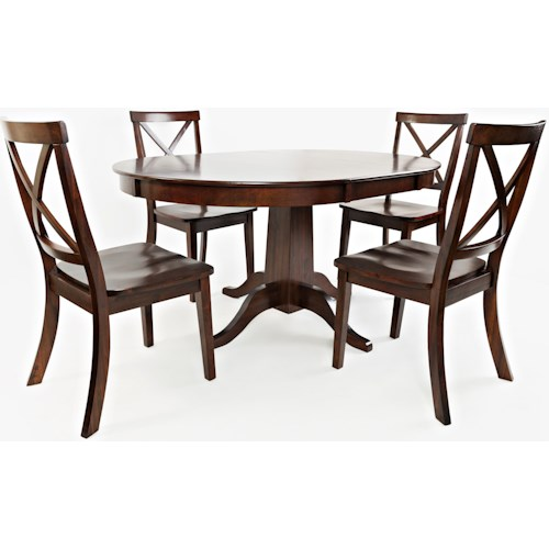 Jofran Everyday Classics Round to Oval Dining Table and 4 Chair Set